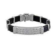 14K White Gold And Black Rubber Men'S Bracelet.  2.85 Ctw.