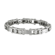 14K White Gold Sliding Round Cut Diamond Bracelet.  4.75 Ctw.