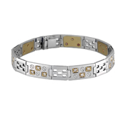 14K White Gold Men'S Bracelet With Yellow Accents.  0.95Ct Ctw.