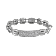 14K White Gold Men'S Bracelet.  Pave Set 1.80 Ctw.