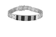 14K White Gold Men'S Bracelet With Black And White Diamonds.  Total Black Diamond Weight: 0.85Ct.  0.60 Ctw.