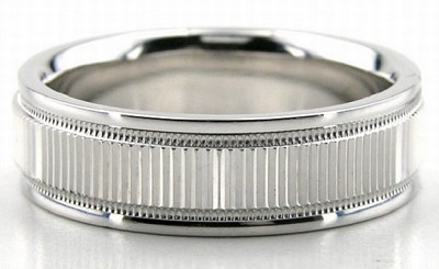 Platinum Diamond Cut Wedding Bands 6.00Mm