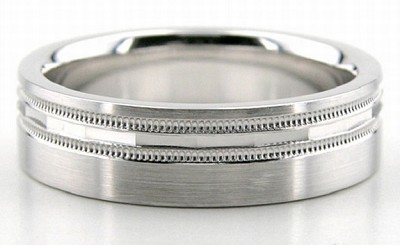 Palladium Diamond Cut Wedding Bands 6.00Mm