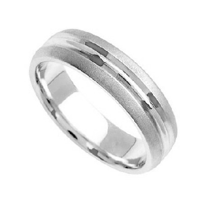 Palladium Diamond Cut Wedding Bands 5.00Mm