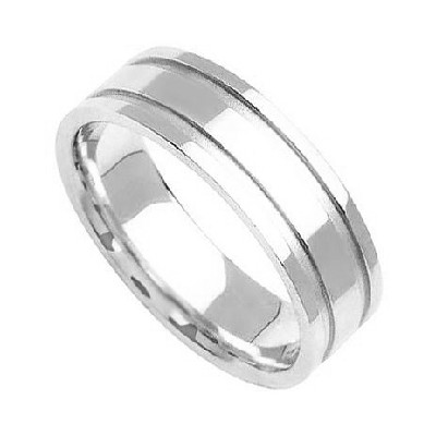 Platinum Diamond Cut Wedding Bands 7.00Mm