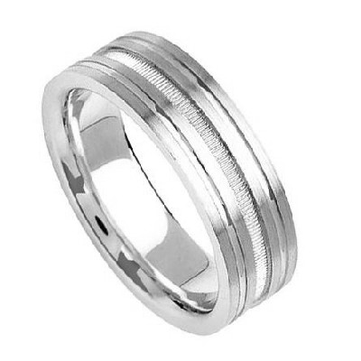 Palladium Diamond Cut Wedding Bands 7.00Mm