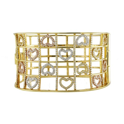 14K Tri- Color Diamond Bangle 3.90 Ctw