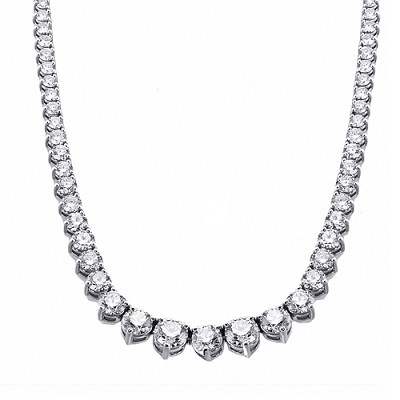14K White Gold Diamond Tennis Necklace 12.35 Ctw.