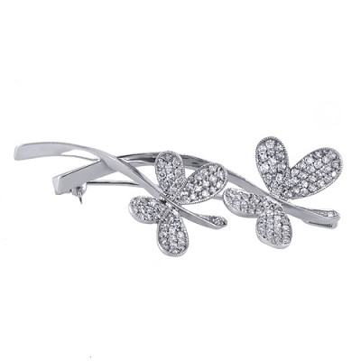 14K White Gold Diamond Pin 1.37 Ctw