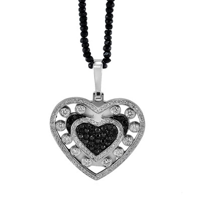 14K White Gold Diamond& Black Diamond Heart Pendant 1.80 Ctw- Bd.60 Ctw
