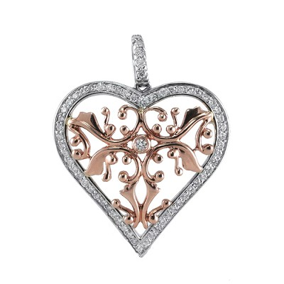 14K White And Rose Gold Diamond Heart Pendant .60 Ctw