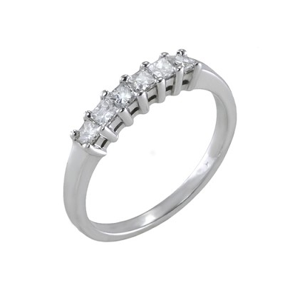 14K White Gold Diamond Wedding Ring 0.42 Ctw