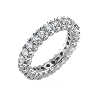 14K White Gold Diamond Eternity Ring 3.01 Ctw