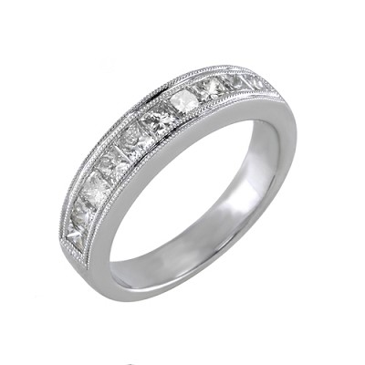 14K White Gold Diamond Wedding Ring 1.28 Ctw