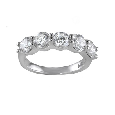 14K White Gold Diamond Wedding Ring 3.52 Ctw