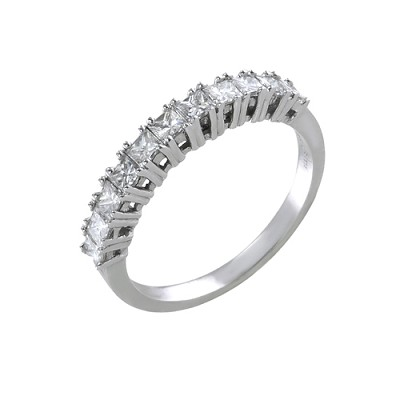 14K White Gold Diamond Wedding Ring 0.90 Ctw