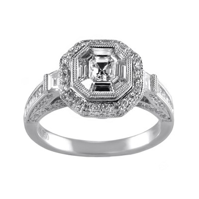 18K White Gold Diamond Engagement Ring 1.64 Ctw