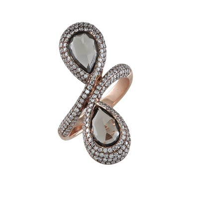 14K Rose Gold Diamond & Smokey Quartz Ring 1.05 Ctw