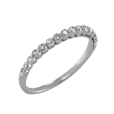 14K White Gold Diamond Wedding Ring 0.20 Ctw