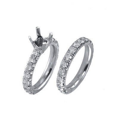 18K White Gold Diamond Engagement Set 3.05 Ctw.