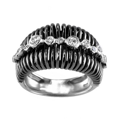 18K Black Rodiumed White Gold Diamond Ring 0.30 Ctw