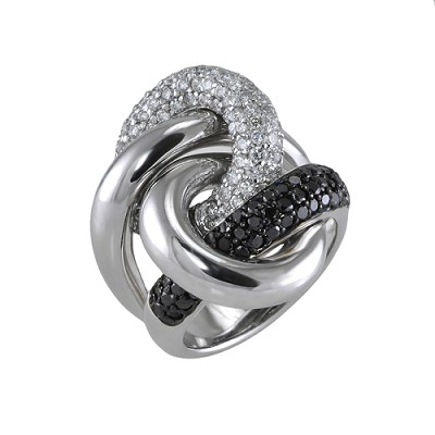 14K White Gold Black & White Diamond Ring  Bd 1.50 Ctw  Wd 1.10 Ctw