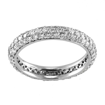 14K White Gold Diamond Eternity Ring 1.20 Ctw