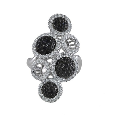 14K White Gold Black & White  Diamond  Ring 1.25 Ctw