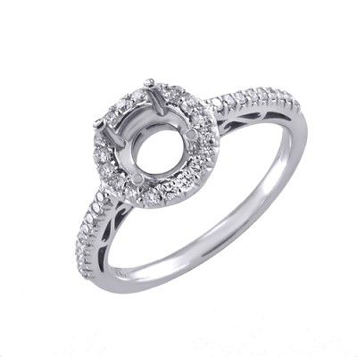 14K White Gold Diamond Engagement Ring 0.40 Ctw.