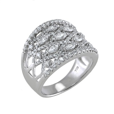 18K White Gold  Diamond  Ring 1.38 Ctw