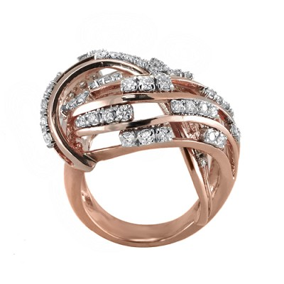 14K  Rose Gold Diamond Ring 1.20 Ctw