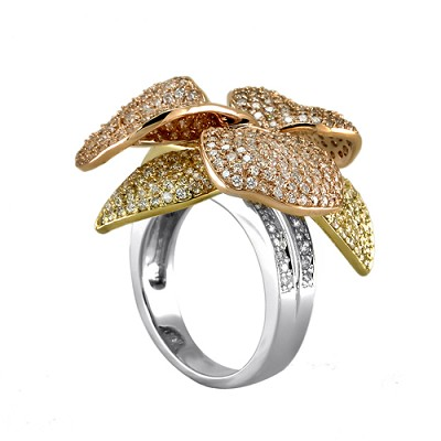 18K Tri-Color Diamond Ring 4.03 Ctw