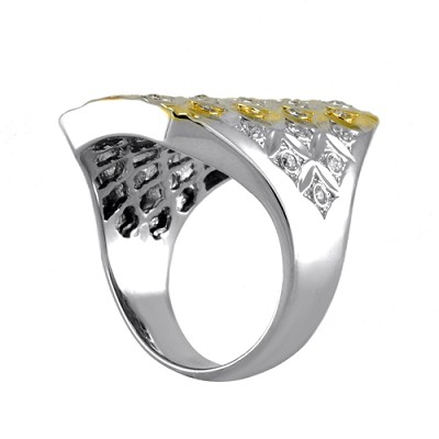 18K White & Yellow Gold Diamond Ring 0.38 Ctw