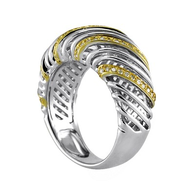 18K White & Yellow Gold Diamond Ring 0.45 Ctw