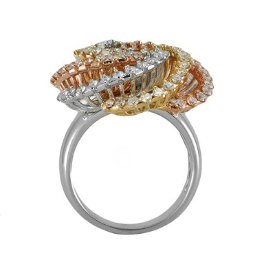 14K  Tri Color  Gold Diamond Ring 1.75Ctw