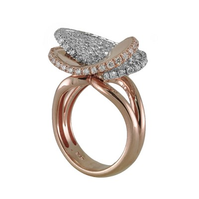 18K White & Rose Gold Diamond Ring 1.40 Ctw